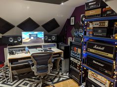 London-based producer Benni Dumville's home studio with a MIZA Studio Desk, Home Studio, Arcade Games, Studios, London, Furniture, House Studio, Big Ben London, Home Furnishings