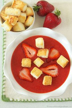 Strawberry Soup with Angel Food Cake Croutons!  A delicious and easy summertime treat! by www.whatscookingwithruthie.com #recipes #fruit #summer