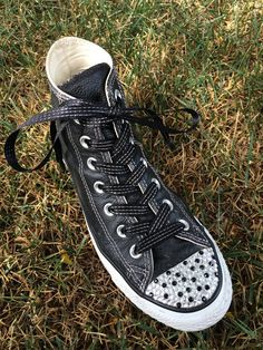Black High Top Blinged Converse Shoes in White   by TrickedKicks Converse  Shoes High Top e716a8967