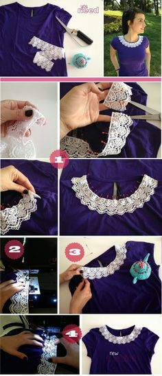 Great Idea New T-Shirt  If you are bored  with your old T-shirt you can make it more fashionable and attractive.  Just pick a lace a...