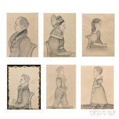 Six Miniature Profile Portraits of the Damon Family of Boston, Massachusetts