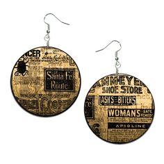 Newspaper - handmade earrings - decoupage, Newspaper Jewelry, Hypoallergenic Earrings