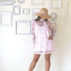 Sheer Lace Shift Dress Alternate Pink by StoryTellersVintage, $78.00