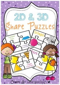 Your students will learn all about the properties of 2D and 3D shapes with this simple and fun Math Center!17 Shape puzzles are included which one the four piece show a picture of the shape, the shape name, an example of the shape in real life and the shape properties!