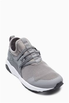 Grey Elastic Lace Trainers (Older)