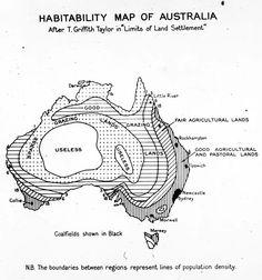 Habitability map of Australia, 1946.