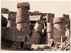 Pillars in the Great hall - Karnak - Francis Frith