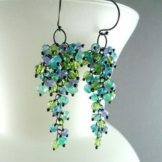 Apatite, Tanzanite, Onyx and Peridot Sterling Silver Cluster Earrings - Waterfall