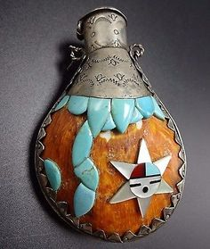 Vintage-KEWA-Hand-Stamped-Sterling-Silver-CANTEEN-FLASK-Turquoise-amp-Spiny-Shell