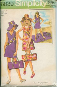 Vintage 1970 Simplicity 8839 Mod Mini - Beach - Shift, Hat, Bag or Mat Sewing Pattern Size 8 - 10 Bust 31 - 32 by on Etsy Simplicity Sewing Patterns, Vintage Sewing Patterns, Clothing Patterns, Dress Patterns, 60s Patterns, Retro Fashion, Vintage Fashion, Or Mat, Vintage Sewing Machines
