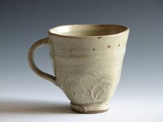Hand-built Stoneware Green Coffee Mug Ceramic Pottery Cup. $28.00, via Etsy.