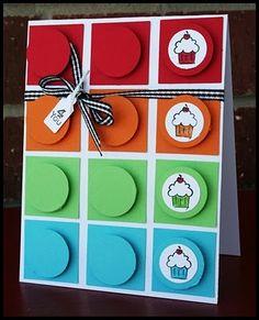 Cupcake Color Block Card Possible idea for a boys birthday card.