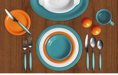 Your Colorama - Beautiful Fiesta Dinnerware color combinations. Turquoise, Tangerine, White