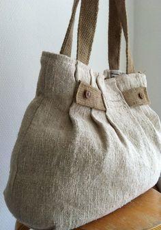 Plisada de lino antiguo bolso monedero bolso de por boonestaakjes