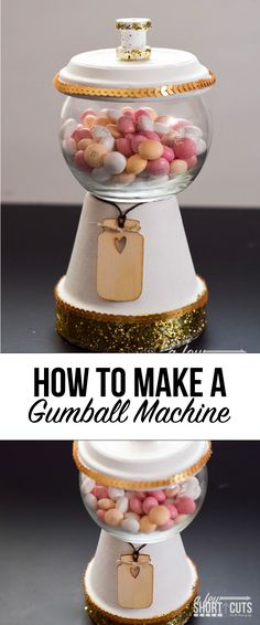 A fun simple craft that turns into a yummy decor item! Learn how to make a gumball machine candy dish! (How To Make Christmas Planters) How To Make Clay, Crafts To Make, Easy Crafts, Flower Pot Crafts, Clay Pot Crafts, Tree Crafts, Flower Pots, Acorn Crafts, Candy Jars
