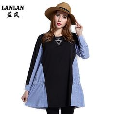LANLAN L-5XL Mini 2016 New Spring Dress Loose Blue Striped Patchwork Cotton Black Casual Plus Size Women Dresses -- You can find more details by visiting the image link.