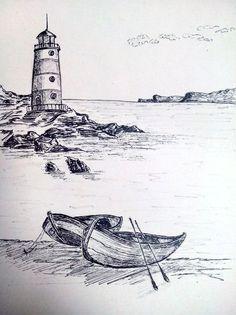 - 민영 손 - - Zwei Boote - Glamour Beautiful Glamour - # Glamour Glamour - Zwei Boote . Landscape Pencil Drawings, Landscape Sketch, Pencil Art Drawings, Cool Art Drawings, Art Drawings Sketches, Landscape Art, Easy Drawings, Lighthouse Drawing, Lighthouse Art