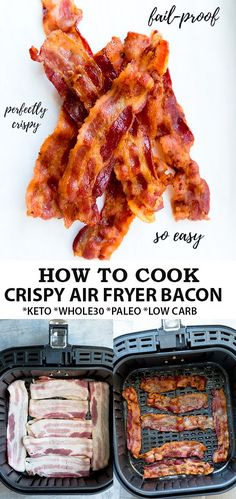 Air Fryer Bacon is the easiest way to make bacon without the mess. Learn how to cook perfectly crispy bacon for a keto, low carb, paleo breakfast! Air Fryer Oven Recipes, Air Fry Recipes, Air Fryer Dinner Recipes, Fried Bacon Recipes, Ham Recipes, Chicken Recipes, Vegan Recipes, Air Fryer Cooking Times, Cooks Air Fryer