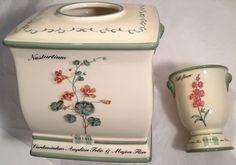 Waverly Williamsburg Garden Images Ceramic Tissue Cover Holder Matching Tumbler #Waverly