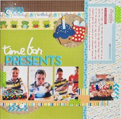 #papercraft #scrapbook #layout. 4 photo birthday ....Searchsku: Time For Presents