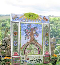 Derbyshire Well dressing To commemorate the fact that the village survived the plague due to readily available water from their wells