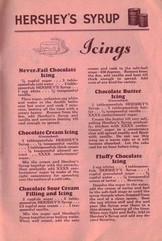 Icings – 55 Recipes For Hershey's Syrup – Vintage Booklet Retro Recipes, Old Recipes, Vintage Recipes, Cooking Recipes, Cake Frosting Recipe, Frosting Recipes, Cake Recipes, Dessert Recipes, Cake Icing