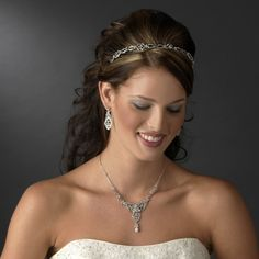 Chic Antique Silver Clear Crystal Headpiece for any classic, modern or vintage inspired #bride. Free Shipping #wedding #bridal #bridalaccessories #weddingplanning #bridetobe