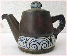 Vintage Celtic Decor HB Henriot Tea Pot 1960  Vintage tea pot with Celtic decor made by the famous HB Henriot factory in Quimper around 1960.