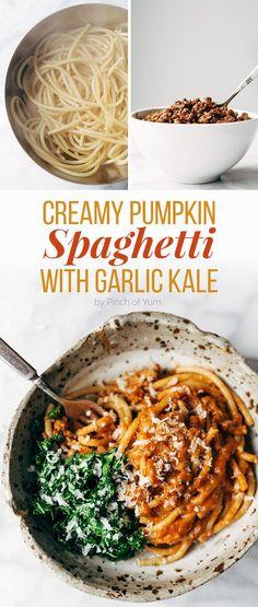 Creamy Pumpkin Spaghetti with Garlic Kale