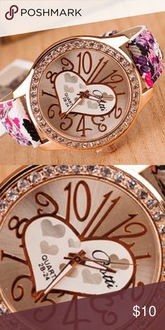 Hearts & Flowers Watch Movement: Quartz : Battery  Features: Easy To Read  Case Material: PU Leather + Alloy  Case Diameter:4cm/1.6'' (Approx.)  Band Material: Faux Leather  Band Length: 23cm/9.06'' (Approx.) (Case is Included)  Band Width: 2cm/0.79'' (Approx.) Accessories Watches