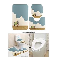 Chaoranhome Pattern Bath Mat Piece Bathroom Mats Empty Playroom With Toy Airplane On Wooden Fl Rugs Contour Toilet Cover