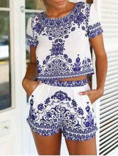 Vintage Scoop Neck Short Sleeve Blouse + Printed Shorts Women's Twinset