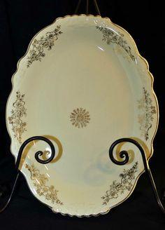 "Vintage Homer Laughlin Patrician Style Virginia Gold Rose 11 3/4"" Oval Platter #homerlaughlin"