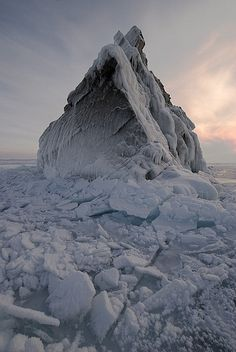 Ice-capped cliff in Maloe-More, Lake Baikal, Russia.