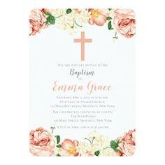 Elegant Floral Baptism   Christening Invitation