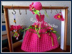 #Crochet #Vestido #Dress #Paragua #Sombrinha #Umbrella #Bolsa #Purse #Chapéu #Hat #Sombrero #Cléa5 #RaquelGaucha