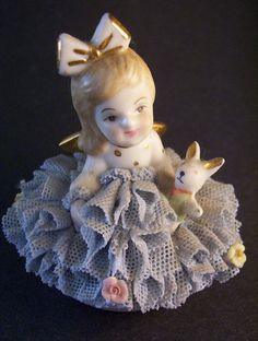 dresden figurines | Antique DRESDEN Figurine ~ Porcelain Lace ~ Marked. Made in Ireland