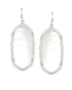 Kendra Scott earrings in Danielle or Elle Size in white mother of pearl with silver