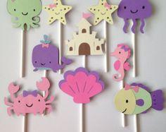 Cupcake Toppers bajo el mar parte fiesta por BlueOakCreations