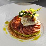 Tarte fine à la Morteau, Etuvée de poireaux et œuf poché