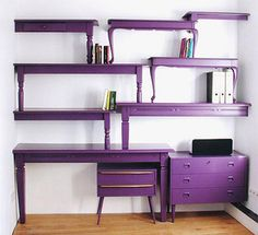 Old tables. No problem, no need to throw them out, just cut them in half and paint them to make this wonderful shelving unit. Would be a fab edition to a craft room! Maybe not so cheap if you don't have any old tables to use though :/ Repurposed Furniture, Diy Furniture, Purple Furniture, Vintage Furniture, Dresser Repurposed, Repurposed Items, Furniture Design, Furniture Stores, Reclaimed Furniture