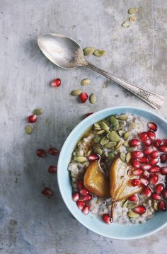 Steel Cut Oats with Maple Roasted Pears + Pomegranate | @withfoodandlove