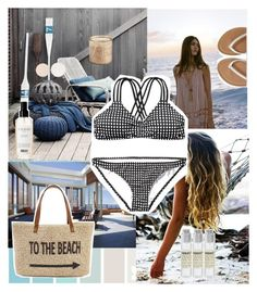 """Bikini"" by amazing-abby ❤ liked on Polyvore featuring Seed Design, Straw Studios, Aéropostale, Balmain, Stila, Pier 1 Imports and Le Labo"