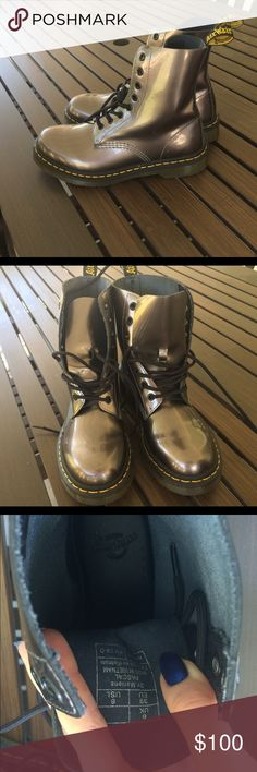 Silver Dr Martens SIZE 8 Silver Dr martens, perfect condition, name brand, worn 2 times, Dr. Martens Shoes Lace Up Boots