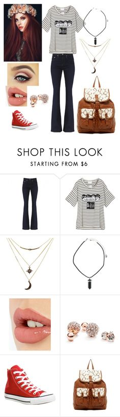 """""""Amber Evans"""" by gryffandclaw ❤ liked on Polyvore featuring Charlotte Russe, Charlotte Tilbury, GUESS, Converse and T-shirt & Jeans"""