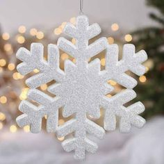 White Glittered Snowflake Ornament - Snow - Snowflakes - Glitter - Christmas and Winter - Holiday Crafts Christmas Crafts To Sell, Diy Christmas Tree, Simple Christmas, All Things Christmas, Holiday Crafts, Christmas Decorations, Christmas Ornaments, Holiday Decor, Nyx Glitter