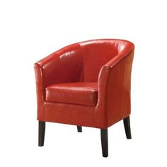 Simon Faux Leather Club Chair in Red - 36077RED-01-AS-U