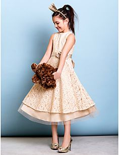 Tea-length Lace Junior Bridesmaid Dress A-line Jewel with Bo... – GBP £ 62.99