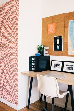 3. Removable wallpaper Give your office or study a pop!