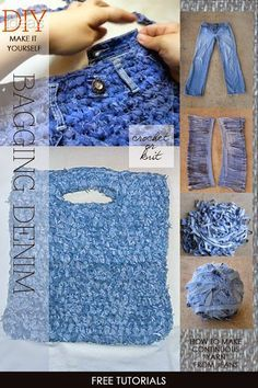 Knit or crochet yourself a bag in denim tutorials show how to make yarn from denim many other ideas and tutorials to inspire you to weave, sew and chain your way to a new bag DiaryofaCreativeFanatic Jean Crafts, Denim Crafts, Loom Knitting, Knitting Patterns, Crochet Patterns, Knit Or Crochet, Crochet Stitches, Crochet Tote, Tshirt Garn